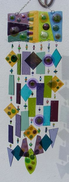 Kirks Glass Art Fused Stained Glass Wind Chime windchime -  Circles in the Square. $325.00, via Etsy.