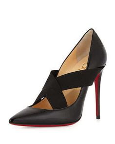Sharpstagram Cross-Strap Patent Red Sole Pump, Black by Christian Louboutin at Neiman Marcus.