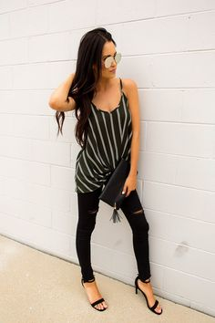 Adorable olive striped tank with V neckline, spaghetti straps, and twist hem detail. Fits true to size, the model is shown wearing a small. Made of rayon fabric. Dottie Couture Boutique, Summer Time, My Style, Instagram, Fall, Closet, Autumn, Armoire, Daylight Savings Time