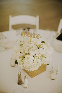 White and gold wedding centerpiece ideas @weddingchicks