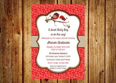 Sweet Red Robin Winter Baby Shower Invitation by InvitesByChristie