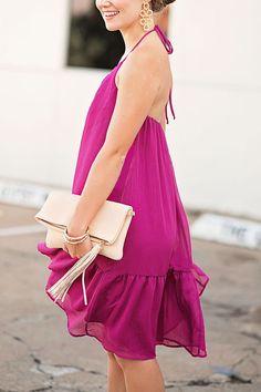 Magenta Halter Dress