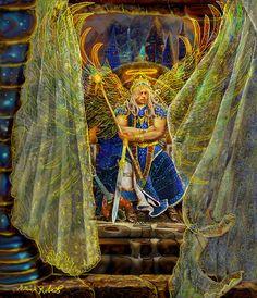 Archangel Michael-angel Tarot Card Painting by Steve Roberts