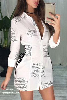 Add a classy touch to your spring style outfit with this elegant shirt dress. Casual style dress for summer with sleeves for women trendy fashion look. Take your style to the next level in this dressy casual shirt dress. Sexy Summer Dresses, Sexy Dresses, Dresses With Sleeves, 1950s Dresses, Dresses Dresses, Vintage Dresses, Spring Fashion Outfits, Look Fashion, Trendy Fashion