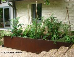 I love the look of  These steel raised veggie beds.