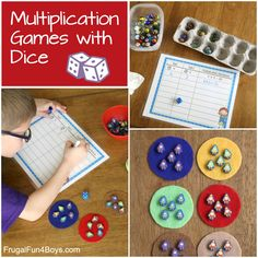 Multiplication Games with Dice - Frugal Fun For Boys and Girls Articulation Activities, Stem Activities, Activities For Kids, Therapy Activities, Math Games For Kids, Fun Games, Multiplication Dice Games, Division Games, Play Therapy Techniques