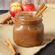This Healthy 2 Ingredient Slow Cooker Apple Butter is an easy fall recipe made with only apples and cinnamon, and no sugar! Perfect as a dip or spread!