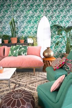 crazy about the retro furniture & wallpaper