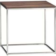 Frame Side Table in Side, Coffee Tables   Crate and Barrel   Walnut with oil finish and stainless steel frame. $349 and $399