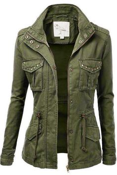 Stylish Studded Military Jacket for Women