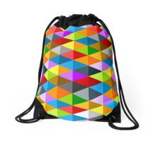 Modern bright funky colorful triangles pattern Drawstring Bag by #PLdesign #geometric #modern #ColorfulTriangles #redbubble