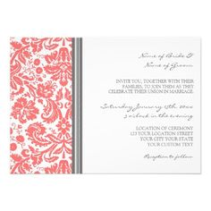 ReviewWedding Invitations Grey Coral Damask Patterntoday price drop and special promotion. Get The best buy