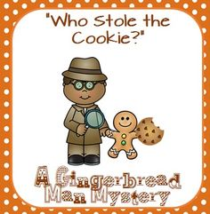 """Help solve the mystery of which Gingerbread Man stole the cookie out of the cookie jar!  Your little detectives will have fun solving mysteries while they are  using deductive reasoning skills!  (This is an important pre-math skill.)  *There are FIVE different """"cookie thief"""" mysteries included with this game."""