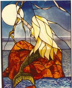 Mermaid - Stained Glass on Faux Stained Glass, Stained Glass Designs, Stained Glass Panels, Stained Glass Projects, Stained Glass Patterns, Mermaid Glass, Mermaid Art, Mermaid Outline, Mosaic Art