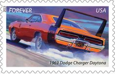 The second of the Muscle Cars Forever® stamps is the 1969 Dodge Charger Daytona, which was designed to dominate on the racetrack. Only 503 of this outrageously styled car were produced.  (Dodge Charger Daytona and Plymouth Hemi 'Cuda are trademarks of Chrysler Group LLC.)