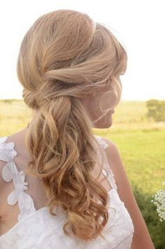 Ambiance~Distinctive Weddings and Events A curly, Off-set hair do for romantic charm.(C/O luckyweddings.com) For Planning Help Call (410) 819-0046 MaryannJudy.com