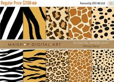 70% OFF SALES Digital Paper - Africa Skins - Cheetah Print Leopard Print Zebra Tiger Giraffe... for Printing Scrapbooking Invites Car MaishopDigitalArt 1.05 USD