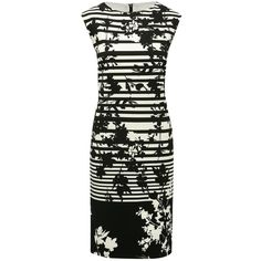 M&Co Stripe Floral Print Dress ($26) ❤ liked on Polyvore featuring dresses, black and white, white and black striped dress, floral-print dresses, knee-length dresses, black and white dresses and sleeveless shift dresses
