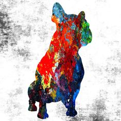 Frenchie Abstract Mixed Media by Daniel Janda