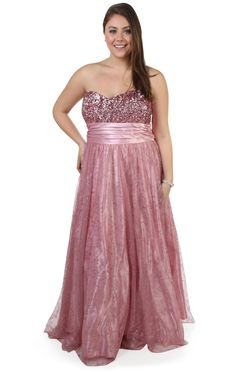 Deb Shops plus size #glitter mesh strapless #prom #dress with full ball gown skirt