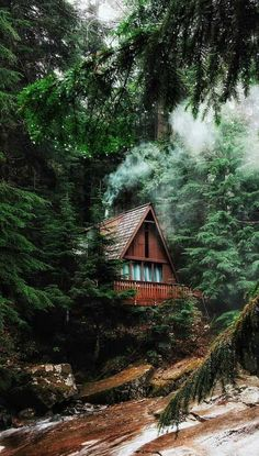 ***Cabin by the Franklin Falls trail (Washington) by Valeriy Poltorak ( at - - Cabins In The Woods, House In The Woods, Cabins In The Mountains, Beautiful Homes, Beautiful Places, Forest House, Forest Cabin, Forest Cottage, Nature Aesthetic