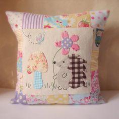 Cushion slip hedgehog applique brights by roxycreations on Etsy, $24.00