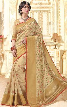 Exquisite French Beige Silk Saree