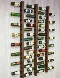 Wine rack 16 bottle ladders set of 3 # bottle ladders # wine .- Weinregal 16 Flaschenleitern Set Wine rack 16 bottle ladders set of 3 shelf - Rough Wood, Small Space Storage, Tuscan Design, Copper Accents, Creative Storage, Storage Ideas, Storage Organization, Creative Ideas, Wine Storage