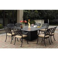 Shop for Darlee Ocean View Cast-aluminum Dining Set With Sesame Seat Cushions and 64-inch Square Propane Fire Pit Dining Table (9-piece). Get free delivery at Overstock.com - Your Online Garden
