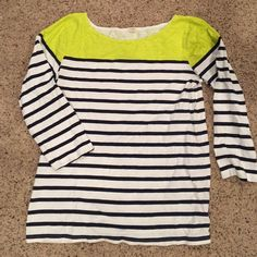 J Crew cotton 3/4 shirt Lime green and nautical navy stripes, perfect for spring! J. Crew Tops Tees - Long Sleeve