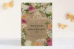 The prettiest gold-foil + floral wedding invitation!