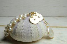 Monogrammed Pearl Bracelet June Birthdays by LillyputLaneDesignCo, $85.00