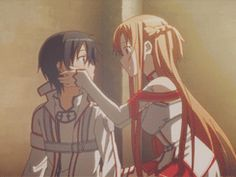 "Sword Art Online | At this scene I was like ""kiss! Kiss! Kiss!"" And then she hugs him and I'm just like "".... Close enough"" :P"