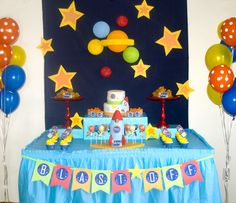 "Photo 1 of rocket/space / Birthday ""Logan's Birthday"" Alien Party, Astronaut Party, Rocket Birthday Parties, Birthday Party Themes, 5th Birthday, Birthday Ideas, Outer Space Party, Baby, Party Ideas"