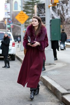 Below-Freezing NYC Street Style That's Still Fire #refinery29  http://www.refinery29.com/2015/02/82279/new-york-fashion-week-2015-street-style-pictures#slide-145  Vogue's fashion news editor Alessandra Codinha in a plum overcoat....