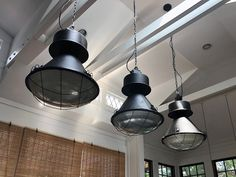 Vintage Black Warehouse Pendants - http://www.hudsongoodsblog.com/vintage-black-warehouse-pendants/