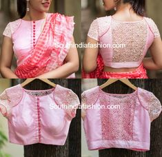 net blouse neck designs Latest Net Blouse Designs For Sarees by House of Blouse Netted Blouse Designs, Simple Blouse Designs, Stylish Blouse Design, Bridal Blouse Designs, Blouse Neck Designs, Net Blouses, Designer Blouse Patterns, Blouse Models, Saree Blouse