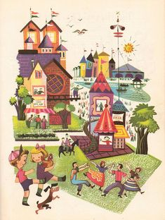 """""""Music Round the Town"""". Illustration by Val Samuelson. Copyright 1955"""