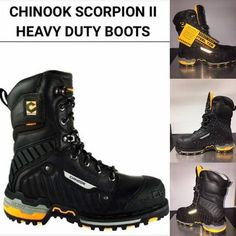 Chinook Scorpion II heavy duty boots steel toe black with orange accents 9 inch with reflective strip Ankle Boots Outfit Winter, Long Boots Outfit, Winter Boots Outfits, Mens Shoes Boots, Leather Boots, Steel Toe Shoes, Steel Toe Work Boots, Shoes World, Cool Boots
