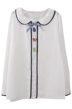 Tri Color Embroidery Front Fly Babydoll Lapel White Shirt
