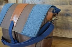 brown waxed canvas blue wool copper leather messenger bag/