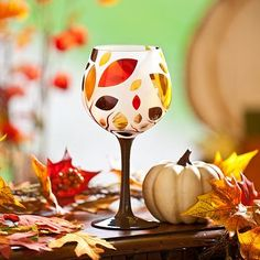 REPIN if you love this festive Autumn Leaves Frosted Wine Glass! We love the brown base and cute design! #kirklands #harvest