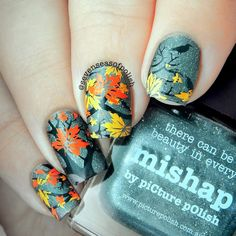 Another round of @picturepolish Mishap - I just really fell in love with this polish!   I'm posting manis a little out of order so the previous set of nails with this polish were actually done over 10 days ago. These ones are from today (you might have caught a sneak peek in my Story earlier).   Base is @picturepolish Mishap (matted) for all the nails.  Branches on ring finger @bornprettystore BP-L015, all other nails @moyou_london Nature 14. Stamping done with @colouralike Kind Of Black,...