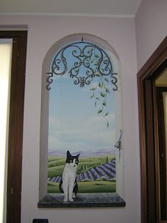 Faux Painting Techniques, Window Mural, Mural Painting, Cat Art, Cartoon Art, Wall Design, Wall Murals, Street Art, Decoration