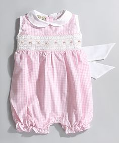 Look what I found on #zulily! Pink  Roxy Smocked Bubble Romper - Infant #zulilyfinds