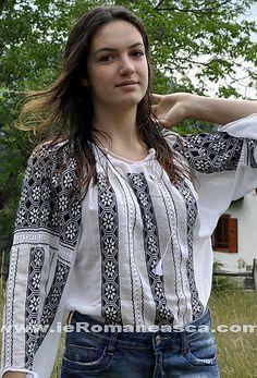 Ie brodata manual de vanzare - blusa romana - bluse roumaine
