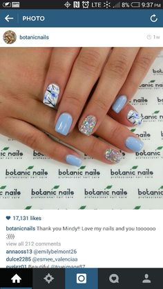 Image via Cute And Creative Swirl Nail Art Image via botanic nails design 2015 Image via botanic nails Image via Image via Simple Botanic Nail Art Designs for Short N Periwinkle Nails, Baby Blue Nails, Blue Nails With Glitter, Blue Gel Nails, Glitter Accent Nails, Acrylic Nails, Fabulous Nails, Gorgeous Nails, Fancy Nails