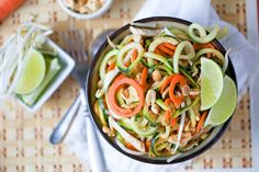 A Healthy Pad Thai recipe with zucchini noodles and chicken that is Low Carb, Gluten Free and low in calories made with a vegetable spiralizer.
