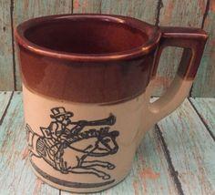 Vtg Holt Howard Fox Hunt Coffee Mug Cup Brown Beige Heavyweight Oven Proof #HoltHoward