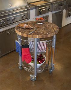 Chris & Chris Pro Stadium Grill Kitchen Cart with Round Butcher Block Top - Acacia Wood